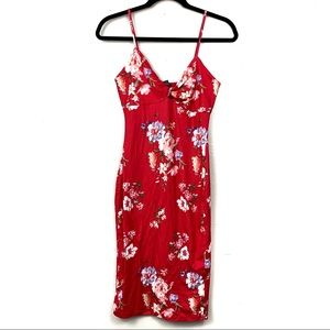 Joe & Elle slim floral spaghetti strap midi dress